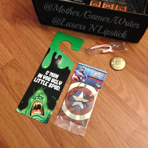 Loot Crate December 2014 ghost busters door hanger and captain america car freshner