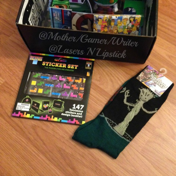 Loot Crate December 2014 tetris stickers and groot socks