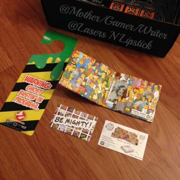 Loot Crate December 2014 the simpsons mighty wallet and ghost busters door hanger