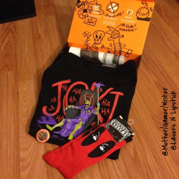 loot crate july joker/loki shirt  and deadpool socks