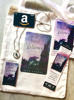 3 winners will receive A Black Bird of the Gallows canvas tote bag, a custom made crow pendant and ball chain, bookmark and stickers, $10 Amazon Gift Card (INT)
